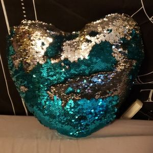 Silver and teal sequin decorative pillow